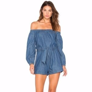 Free People Off the Shoulder Jean Romper